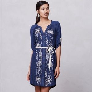 Tiny Anthropologie Embroidered Shirt Dress